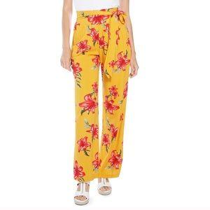 GUESS Yellow Tropical Print Wide Leg Pants M